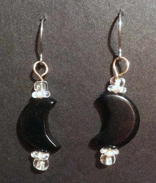 Galloway Czech Glass Moon Earrings