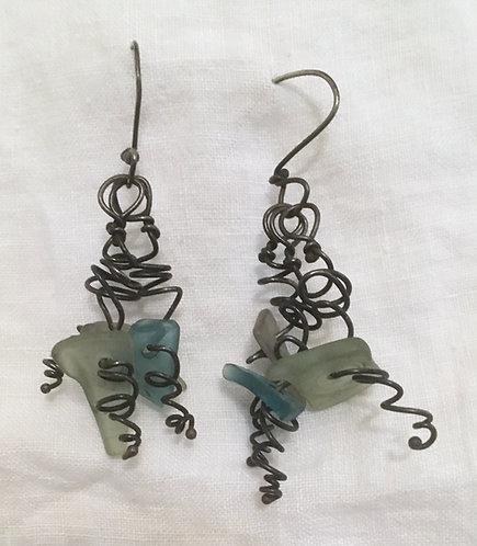 White Light Seaglass Earrings
