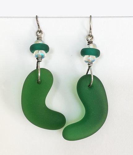 White Light Seaglass Dangle Earrings