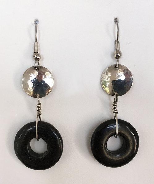 Corbett Sterling Silver and Onyx Earrings
