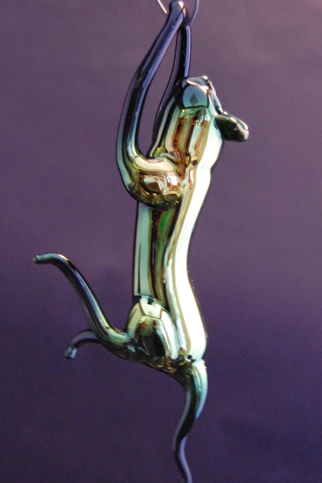 Glass cat ornaments - Working Glass Hanging Cat Ornaments