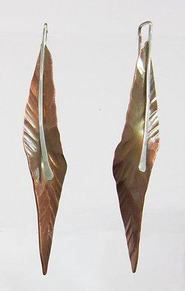 Flying Anvil Long Copper Leaf Earrings