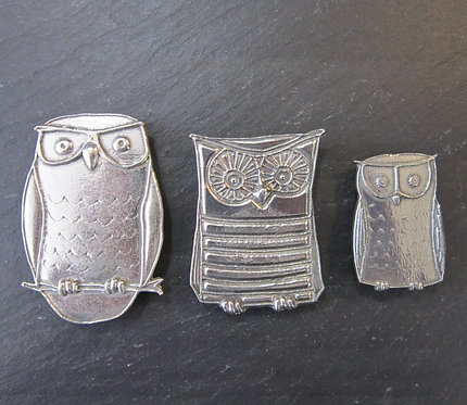 Roosfoos Pewter Owl Magnets