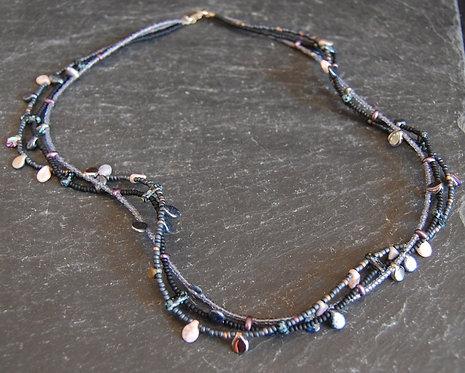 Galloway Beaded Necklace Czech Three Strand