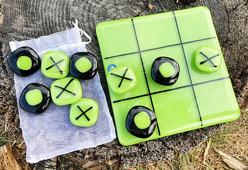 Amy Knight Glass Tic Tac Toe Board - Cool Colors