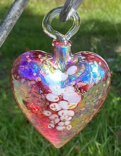 Vines Art Glass Heart Ornaments