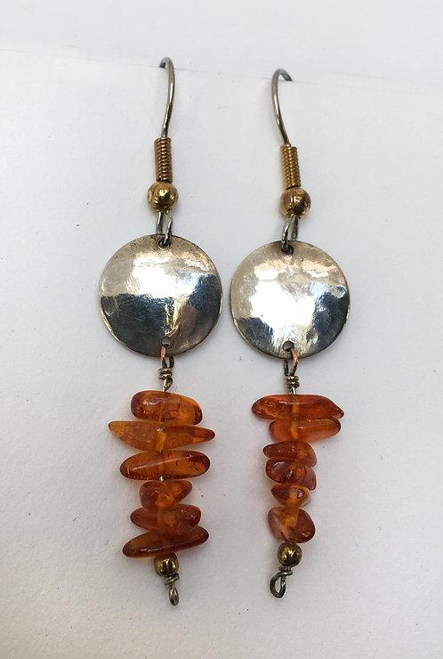 Corbett Sterling Silver and Amber Earrings