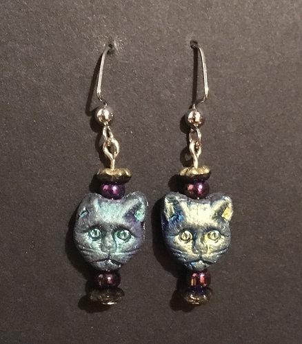 Galloway Czech Glass Cat Earrings