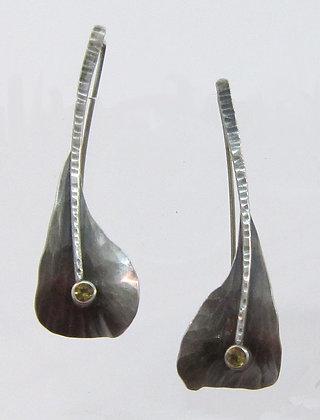 Flying Anvil Long Silver Leaf Earrings