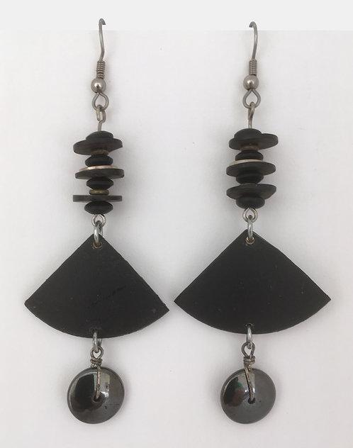 Corbett Hematite Disc Dangle Earrings