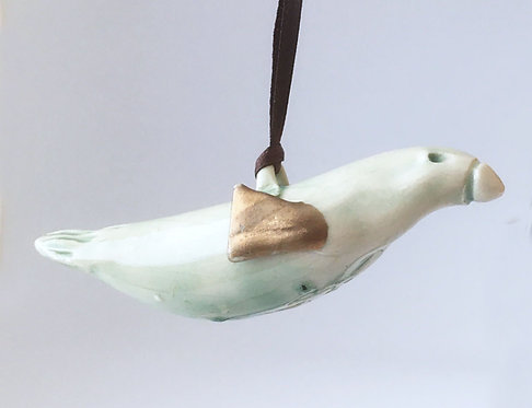 Clay House Pots Ornament - Celadon Birds