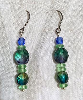 Galloway Blue Green Glass Earrings