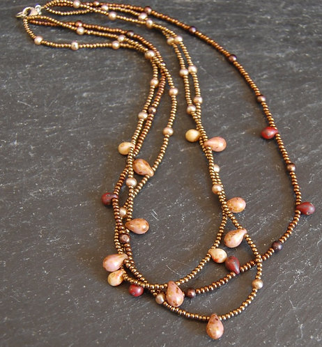 Galloway Beaded Necklace - Czech Three