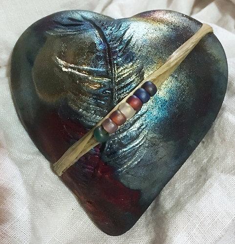 J. Davis Raku innerSpirit Rattle - Feather Heart
