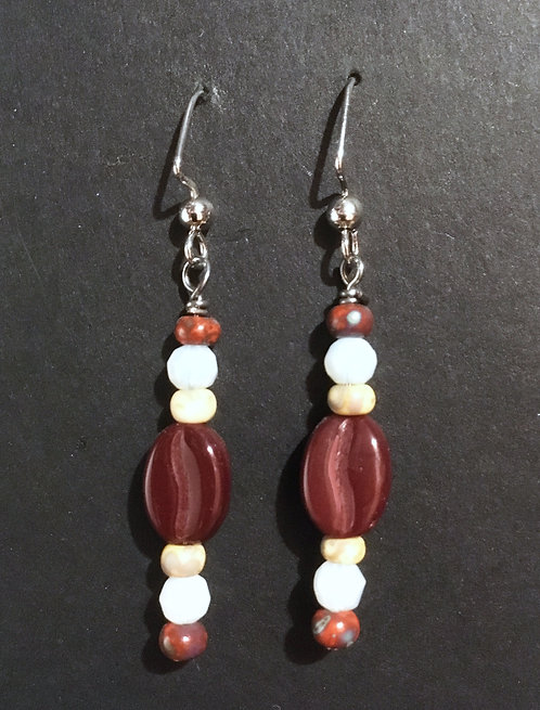 Galloway Czech Glass Coffee Bean Earrings