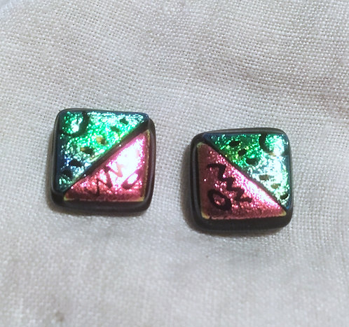 Goldsmith Carved Fused Glass Dichroic Earrings