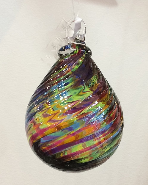 Glass Eye Studio Rainbow Twist Raindrop Ornaments