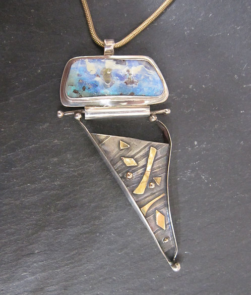 Twigg Necklace with Silver & Gold Accents & Opal