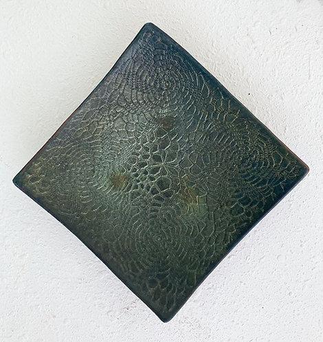 Clay Cellar Raku Square Lace Plate