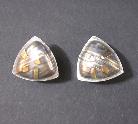 Twigg Sterling Silver Earrings with Gold Accents