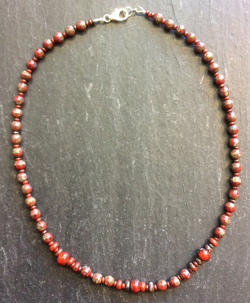 Galloway Czech Glass Bead Necklace - Reds