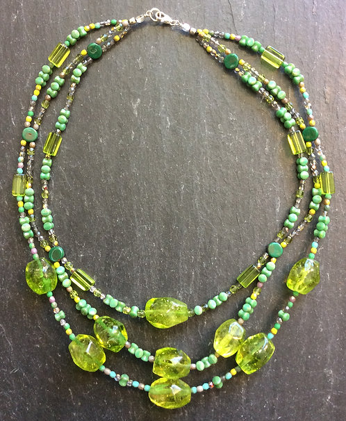 Galloway Beaded Necklace - Peridot & Czech Glass