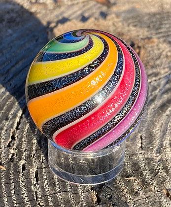"""Hot House Glass 1.375"""" Rainbow Curvis Marble"""