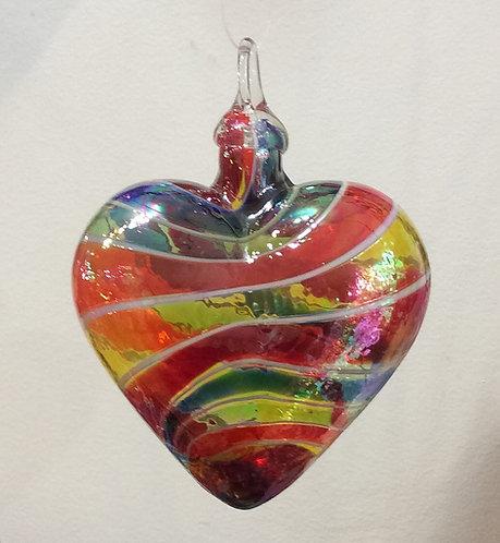 Glass Eye Studio Designer Rainbow Heart Ornaments