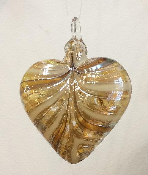 Glass Eye Studio Designer Gold Heart Ornament