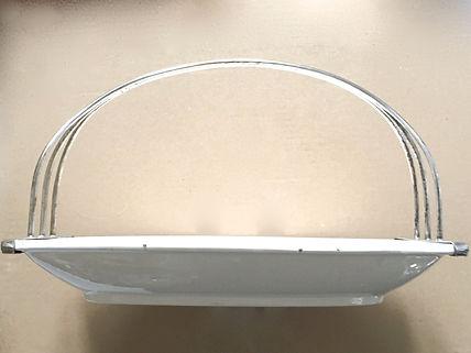 German Jugendstil serving dish detachable silverplated handle steingut Art Deco Modernist