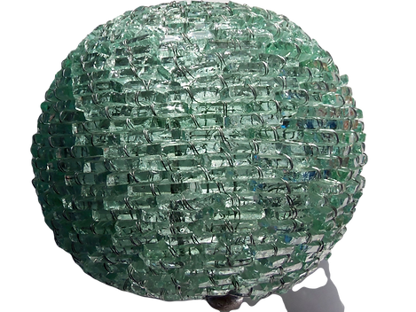 vintage antique used sea green glass table lamp shade globe shape of steel wire stitched glass shards for sale under £1000