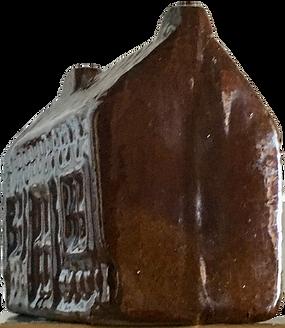 "Scottish 19th century treacle glaze potttery cottage ""pirly"" money piggy coin bank children's ceramic Folk Art"