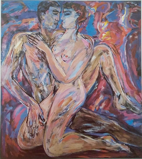 """Erastes"" acrylic on Not paper Fionna Carlisle 1987 from ""The Wars of Love"". Baroque New Figuration painting Scottish Contemporary Art nude figures large square for sale POA"