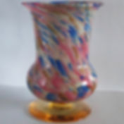Murano glass vase pink blue white on amber foot
