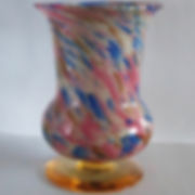 pink blue white & gold aventurine Murano glass vase on amber foot