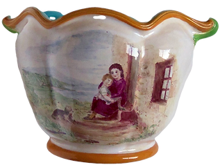 Minton majolica planter Sèvres shape monogram painted with sentimental Highland cottage scene terrier mother child Victorian  for sale