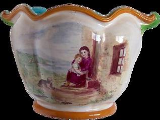 Minton majolica planter Sèvres shape monogram painted with sentimental Highland cottage scene terrier mother child Victorian  for sale