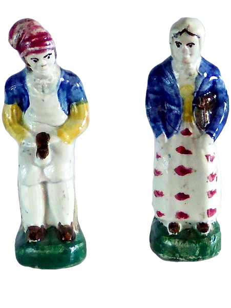 Cobbler Shoemaker Schumuacher Schuhmacher Jobson & Nell Staffordshire figurines Pratt type Theatrical figures Early Pottery polychrome Folk Art