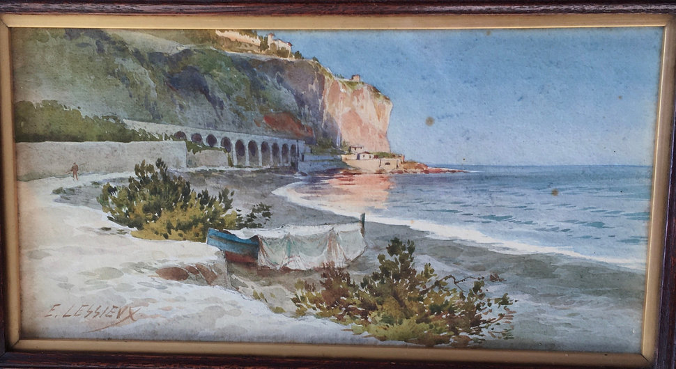 original watercolour painting A Viaduct on the Amalfi Coast by Ernest Lessieux aquarelle Belle Époque