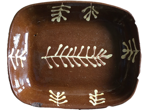 for sale  bold statement antique usedpotteryslip trailed slipware oblong redware baking pie dish plate fishbone pattern press moulded alluvial clay lead glazed brown white British folk art drape moulded