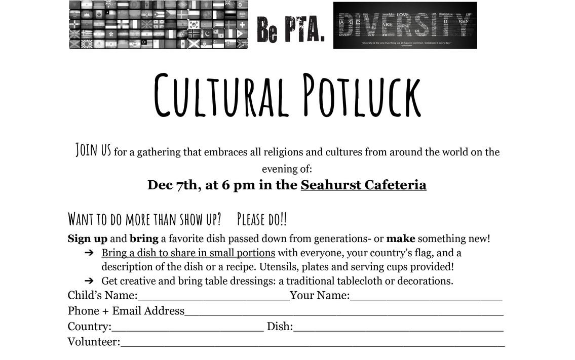 Cultural Potluck- Send home - Google Doc