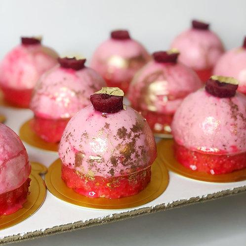Dozen Individual Raspberry Mousse Cake