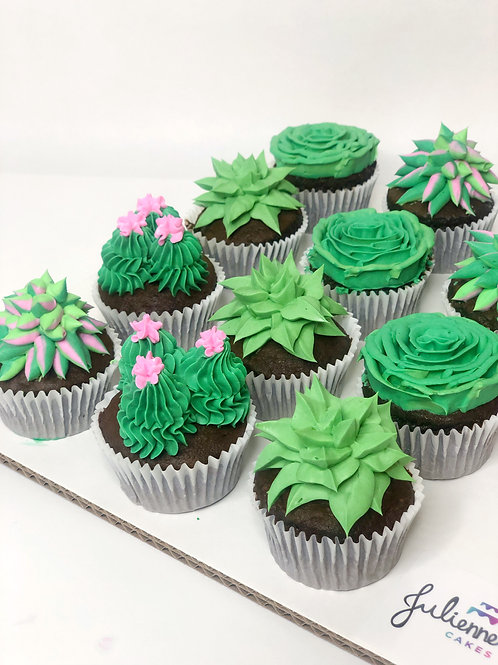 Cactus and Succulents Cupcakes