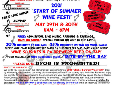 Start of Summer Wine Fest 2021-May 29th & 30