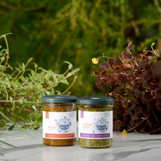 Plantebaserede smørepålæg med frugt/grønt, pesto, peanuter butter