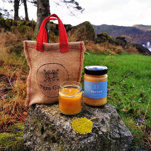Gavepakning honning og bivokslys
