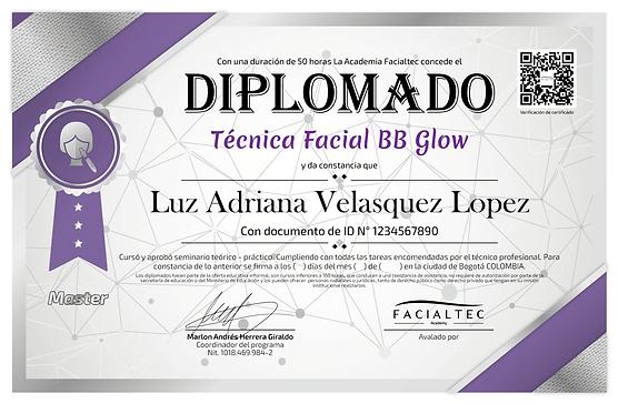 diploma curso bbglow piel de porcelana facialtec academy