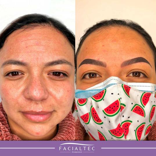 Micropigmentación de cejas antes y después