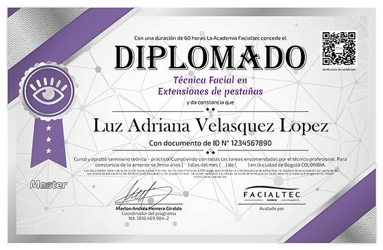 diploma extensiones de pestañas facialtec academy