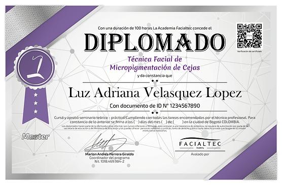 diploma de micropigmentacion de cejas facialtec academy
